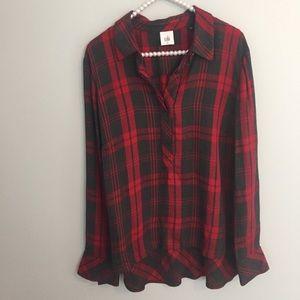 Cabi 3589 Cunningham Red Gray Plaid Popover Shirt